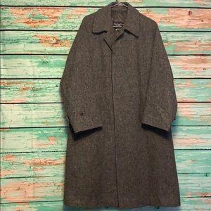 Vintage Burberry Harris Tweed Grey Coat